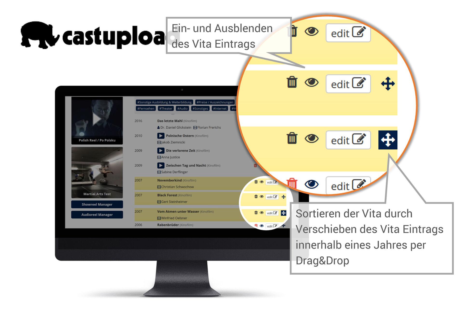 """Image for Castupload Funktion """"Vita-Eintrag sortieren & ausblenden"""""""
